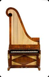 """Anon. enkel """"giraff"""" från 1800-talets förra hälft. Musik- och Teatermuseet inv.nr M466. Foto: Musik- och Teatermuseet."""
