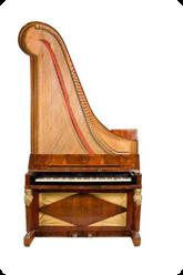 Samma instrument öppnat så att mekaniken är synlig. Foto: Musik- och Teatermuseet.