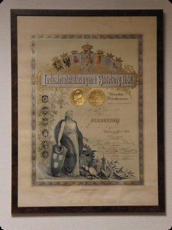 Diplom tilldelad Malmsjö vid industriutställningen i Göteborg 1891 (guldmedalj)