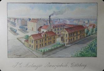 J.G. Malmsjös fabrik på Gamla Allén 13 i Göteborg 1900 (akvarell).
