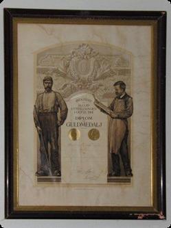 Diplom tilldelad Östlind & Almquist vid utställningen i Gävle 1901 (guldmedalj).