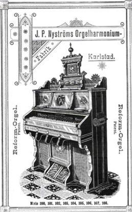 Största modellen av Nyströms reformorgel enligt fabrikens katalog från 1895.