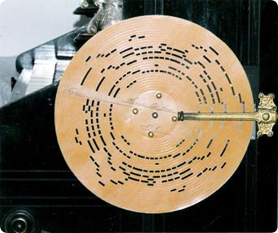 En skiva med stansade hål, som bestämde hur länge luft fick passera genom stämmornas ventiler.