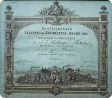 Malmsjös diplom från Industri- och slöjdutställningen i Malmö 1865.